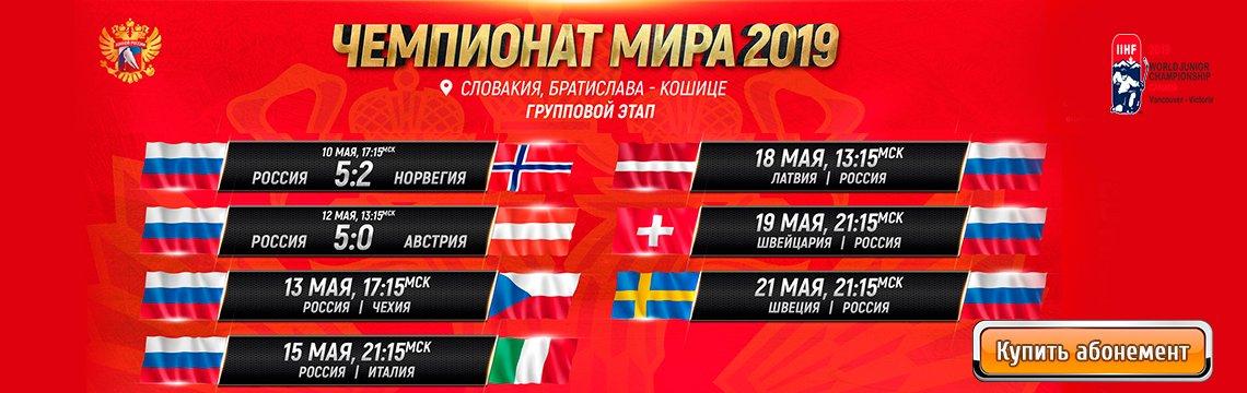 Расписание трансляций ЧМ по хоккею 2019